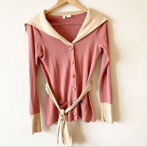 MOTH Anthropologie Red Beige Button Up Cardigan